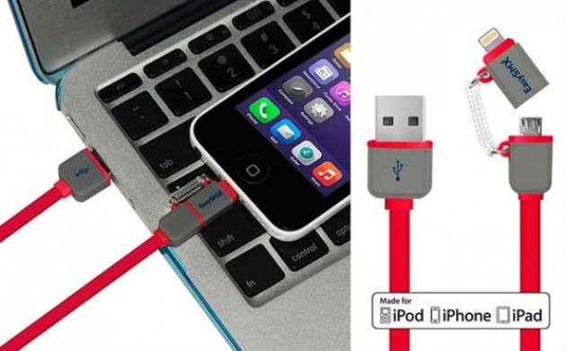Apple MFi Certified 2 in 1 Usb Date Lightning Cable for iPhone Android