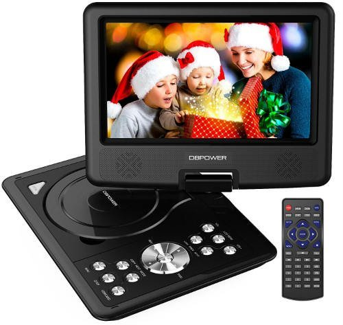 dbpower 95 inch portable dvd player with rechargeable battery sd card slot and usb