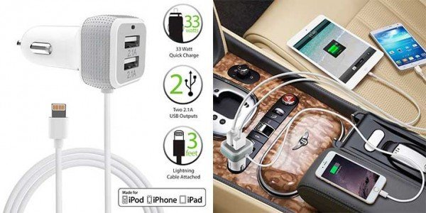 Car Charger for iPhone and iPad with Lightning cable 2 USB ports FosPower