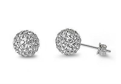Crystal Ball Stud Earrings 925 Sterling Silver Clear