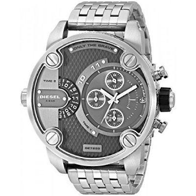 Diesel SBA Dual Time Zone Stainless Steel Mens Watch