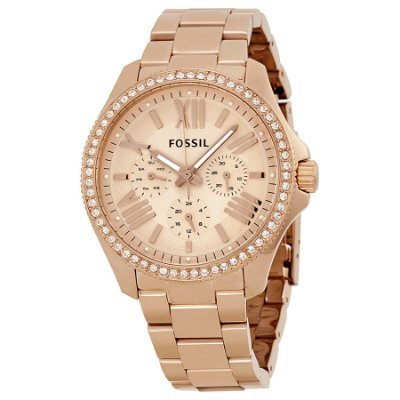 Fossil Womens AM4483 Cecile Rose Gold Tone Watch