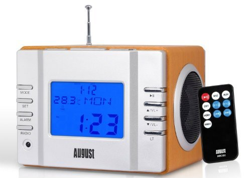 August MB300 Mini Wooden MP3 Stereo System and FM Clock Radio