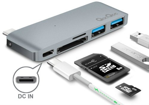 QacQoc Premium Type C Hub with Power Delivery 2 superspeed USB 3 0 ports