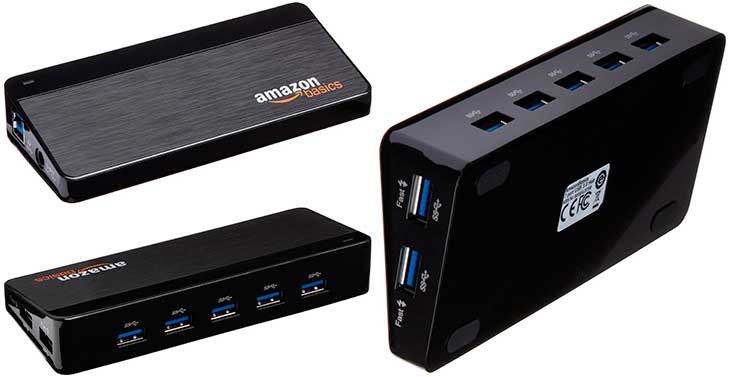 USB 3 0 powered hub with 4 7 or 10 ports AmazonBasics
