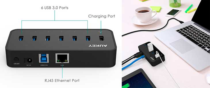 USB 3 0 powered hub with 6 ports 1 charging Ethernet Aukey CB H17