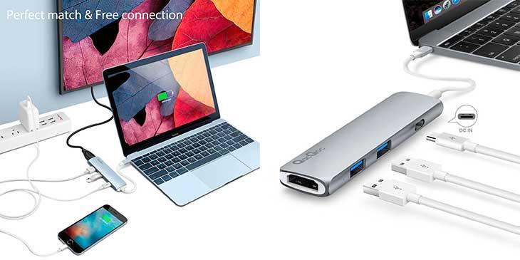 USB C hub with 2 USB 3 0 ports HDMI power top selling