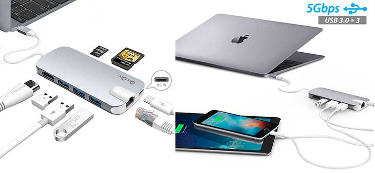 USB C hub with 3 USB 3 0 ports HDMI Ethernet card reader power top rated