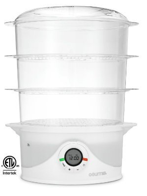 Gourmia GFS300 SteamTower300 Electronic Digital 3 Tier Vegetable and Food Steamer