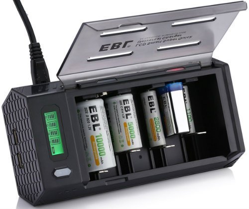 EBL LCD Smart Battery Charger for C D 9V AA AAA Rechargeable Battery