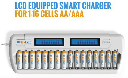 SunLabz Smart Rechargeable Battery Charger AA AAA NiMH NiCD Batteries