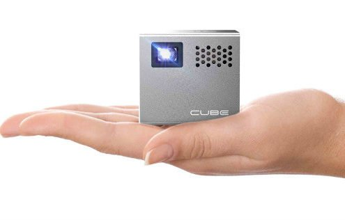 RIF6 CUBE Pico Video Projector with 120 Inch Display