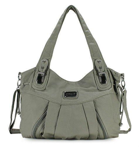 Scarleton 3 Front Zipper Washed Shoulder Bag