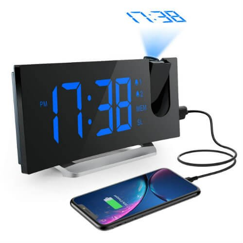 Best alarm clock with projector and phone charger wireless